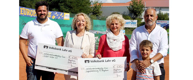 """TC Ringsheim spendet 630 Euro an den Verein """"Einfach helfen"""" und die Jugendabteilung"""